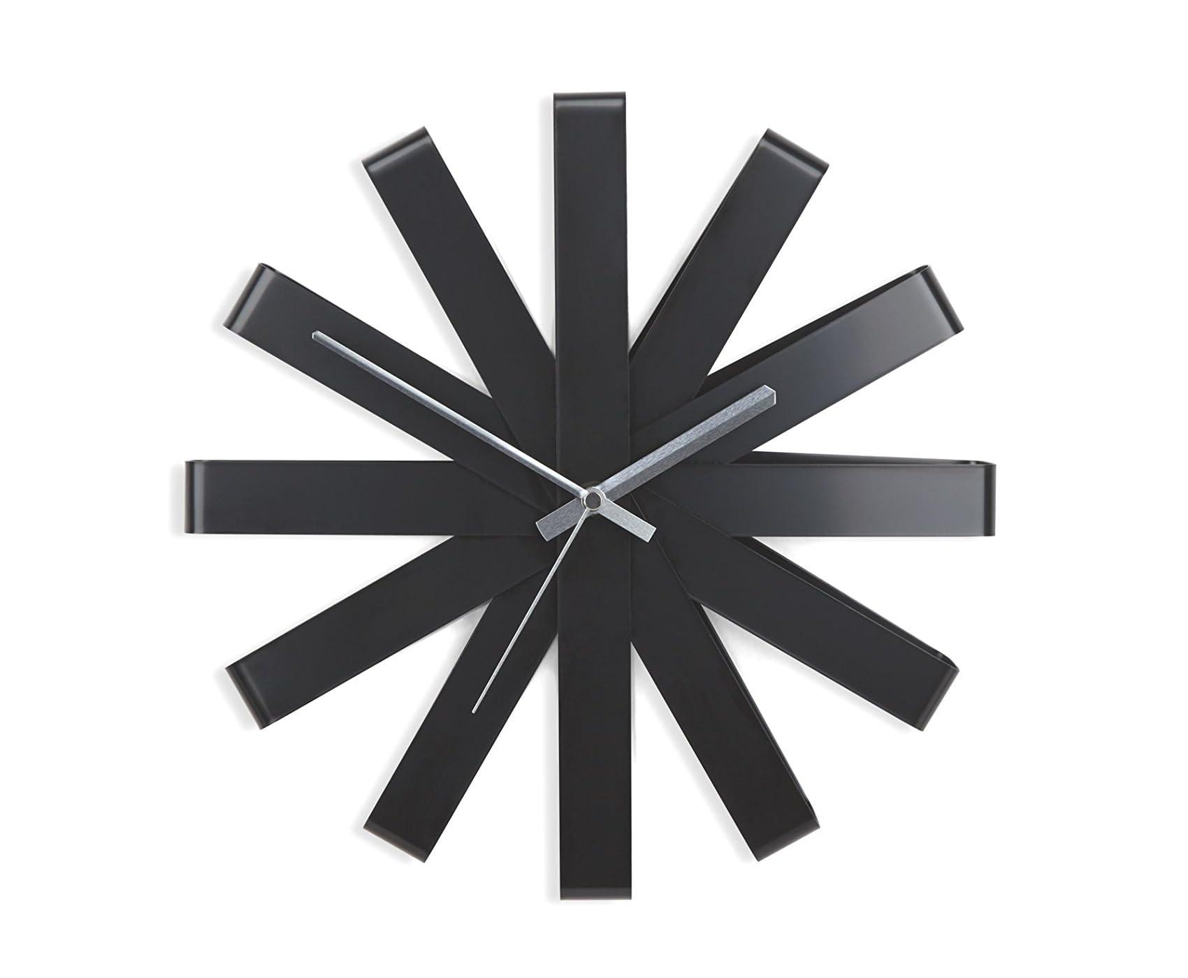 """Minimalist Black """"Ribbon"""" Wall Clock by Umbra"""