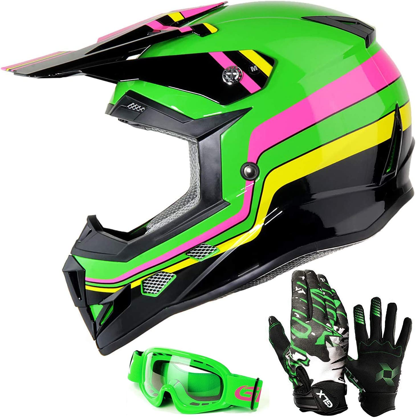 Youth-M, Green//Silver ILM Youth Kids ATV Motocross Dirt Bike Motorcycle BMX Downhill Off-Road MTB Mountain Bike Helmet DOT Approved