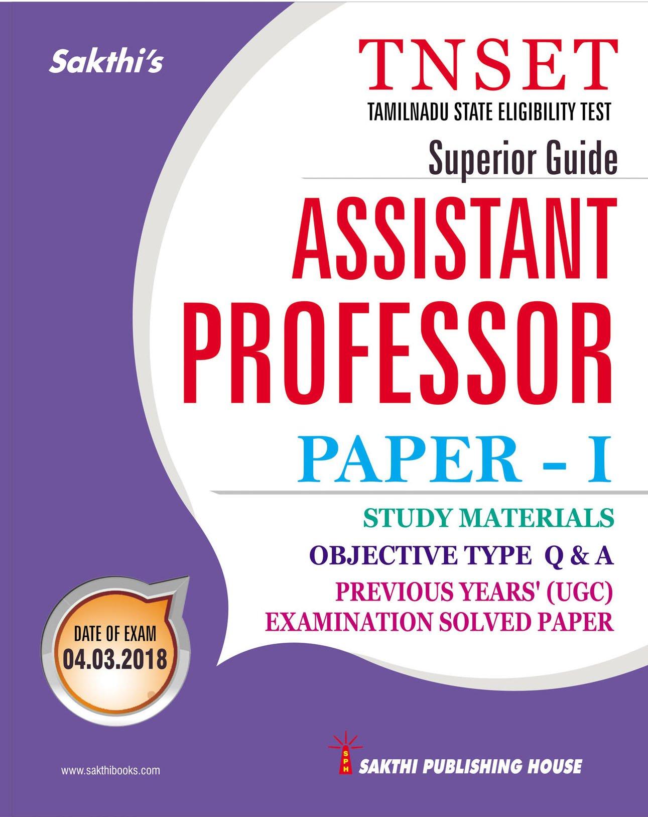 Amazon in: Buy Tnset - Assistant Professor Paper - I Study