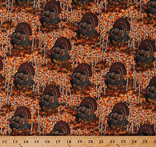 Cotton Turkeys Tom Gobbler Game Birds Autumn Autumnal Hunting Fowl Wildlife Nature Thanksgiving Birch Trees Woods Pheasant & Turkey Season Cotton Fabric Print by The Yard (6917T-4L)