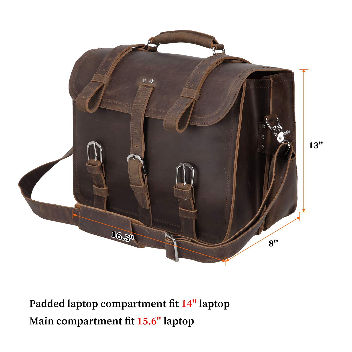"""Texbo Real Thick Cowhide Leather Men/'s Shoulder Briefcase Fit 17/"""" Laptop Bag ..."""
