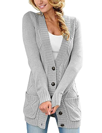 5790fed1c9 ACKKIA Womens Sweater Cardigan Open Front Coat Cable Knit Buttons Pocket  Outwear at Amazon Women s Clothing store