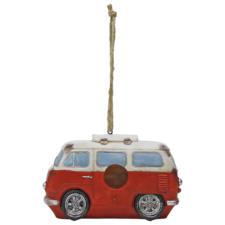 Nichoir à Oiseaux à Suspendre Modèle Camping-Car VW en Polyrésine Rouge Gardens2you