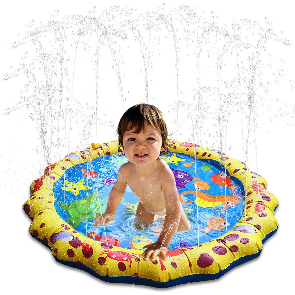 HECCEI Kids Water Sprinkle and Splash Play Mat Shallow Toddler Pool Bathroom Outdoor Sprinklers Pad Swimming Party Portable Infants Baby Toy 39in-Diameter