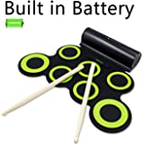 Rockpals 電子マットドラムセット デジタルパーカッション 2400ミリアンペア充電式リチウムイオン電池 ホーン二つ内蔵(緑)