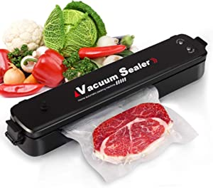 Food Vacuum Sealer Machine, Automatic Vacuum Sealer Multifunction Vacuum Sealing System for Food Savers, Dry & Moist Sealing Mode, Led Lights, with 15pcs Vacuum Sealer Bags