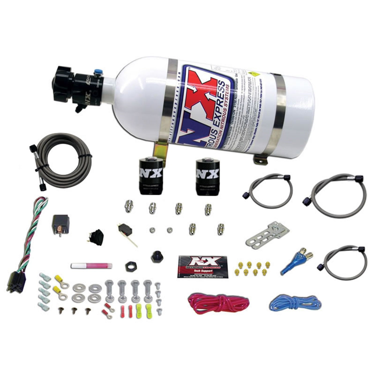Nitrous Express 20118-10 100-250 HP Race EFI Single Nozzle with 10 lbs. Bottle for GM