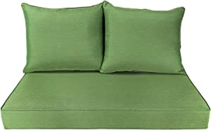 BOSSIMA Patio Furniture Cushions Comofort Deep Seat Loveseat Cushion Indoor Outdoor Seating Cushions Deep Green