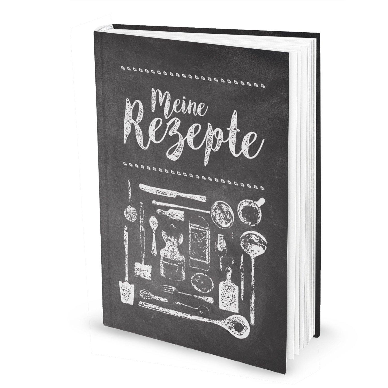 XXL Rezeptbuch zum Selberschreiben TAFEL-KREIDE-LOOK schwarz-weiß ...