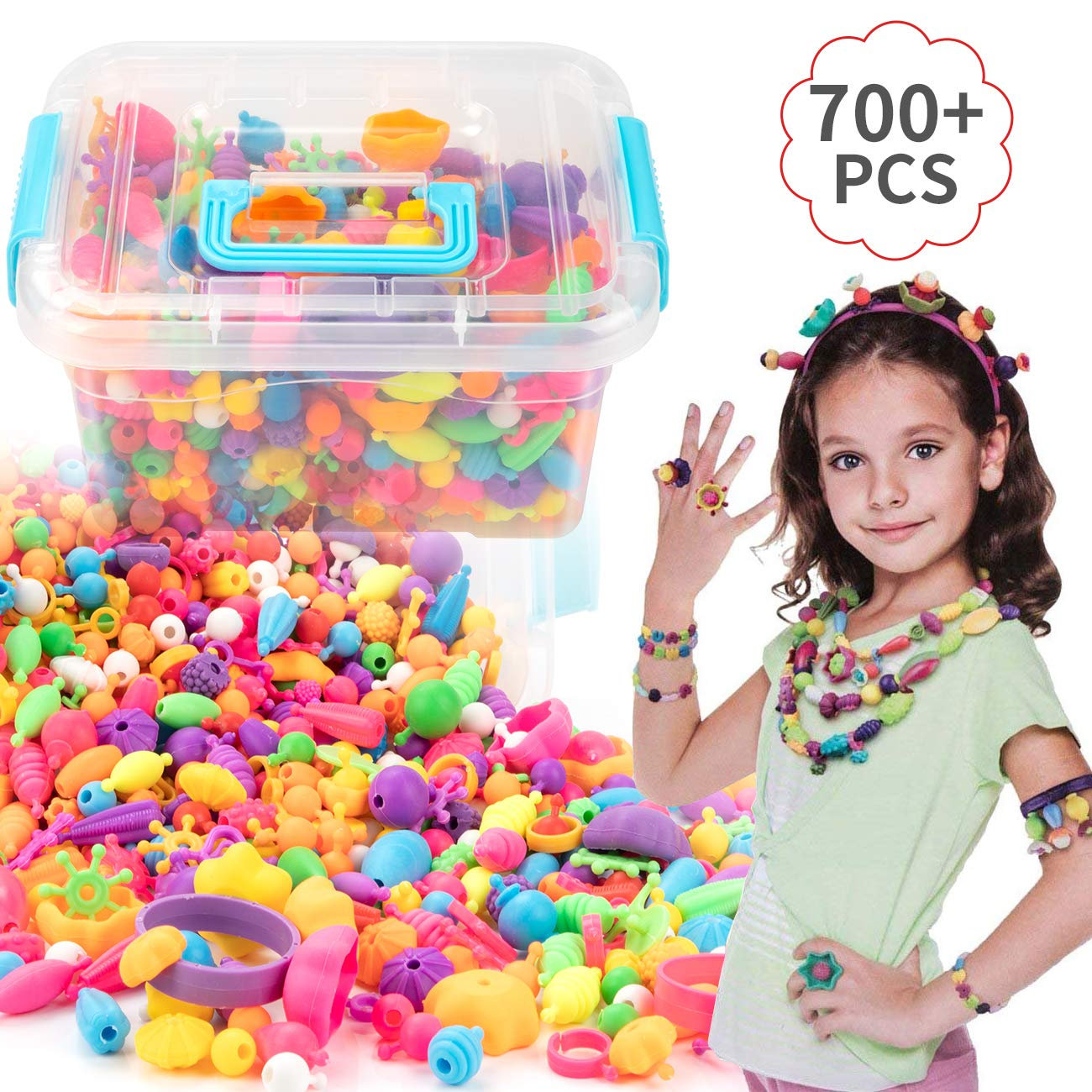 EXTSUD Pop Beads Set 700PCS DIY Jewelry Set BPA Free Making Necklace Bracelet Hairband and Ring Pop Snap Beads Set Creativity DIY Set for Girls Toddlers Kid