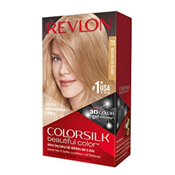 Amazon.com   Revlon ColorSilk Haircolor, Medium Ash Blonde (70) (Pack of 3)    Chemical Hair Dyes   Beauty 76a048882e