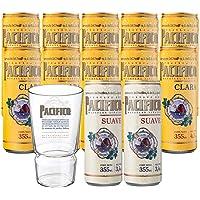 Pack 10 Latas Cerveza Pacífico + 2 Latas Cerveza Pacífico Suave + 1 Vaso Oficial