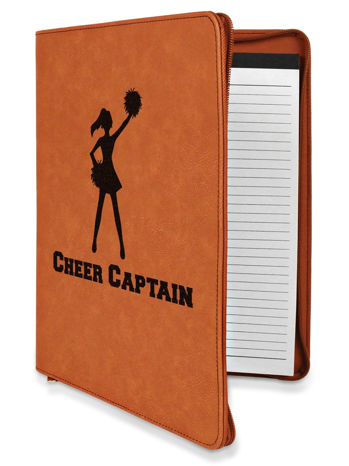 Cheerleader Leatherette Zipper Portfolio with Notepad - Double Sided (Personalized)
