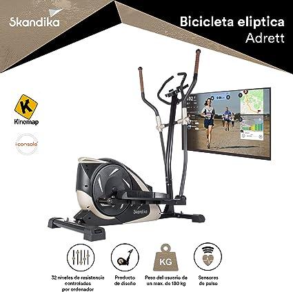 skandika Adrett - Bicicleta elíptica - Bluetooth - App - Pulsómetro - 32 Niveles de Resistencia - 12 kg Masa Volante (Negro/Dorado): Amazon.es: Deportes y aire libre