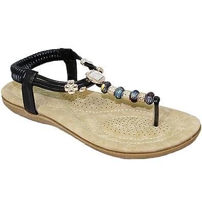 14ab95fa0d0 JLH879 Murana Ladies Jewelled Padded Elastic Toe Post Thong Beaded Sandal   Black