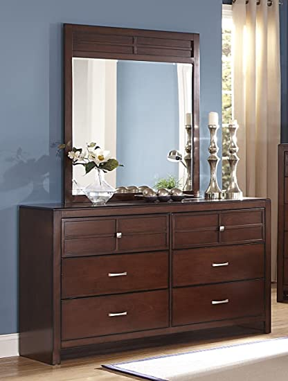 NCF Furniture Kirkwood Dresser With Mirror In Burnished Cherry
