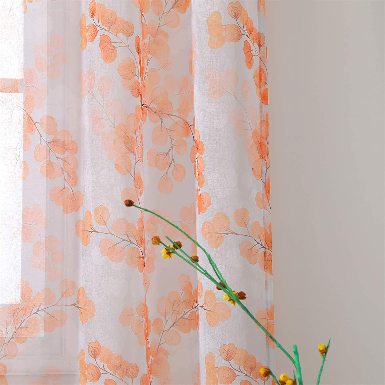 MYSKY HOME Orange Floral Pattern Sheer Curtains for Bedroom Semi Grommet Window Panel Drapes with Mother for Living Room Dining Kids Room Nursery 2 Panels 63 Inch Long Orange