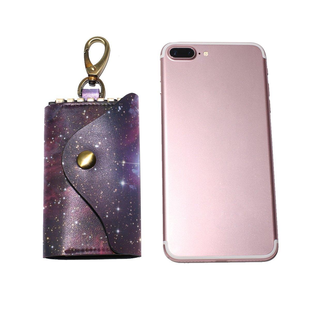 DEYYA Universe Space Nebula Star Leather Key Case Wallets Unisex Keychain Key Holder with 6 Hooks Snap Closure