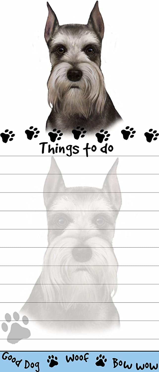 """""""Schnauzer Magnetic List Pads"""" Uniquely Shaped Sticky Notepad Measures 8.5 by 3.5 Inches"""