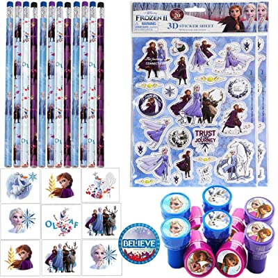 Frozen 2 Birthday Party Favor Set and Goodie Bag Fillers For 12 Guests With 16 Frozen 2 Pencils, 16 Frozen 2 Tattoos, 12 Frozen Stampers, Large Raised Frozen Stickers, and Frozen 2 Inspired Pin: Toys & Games