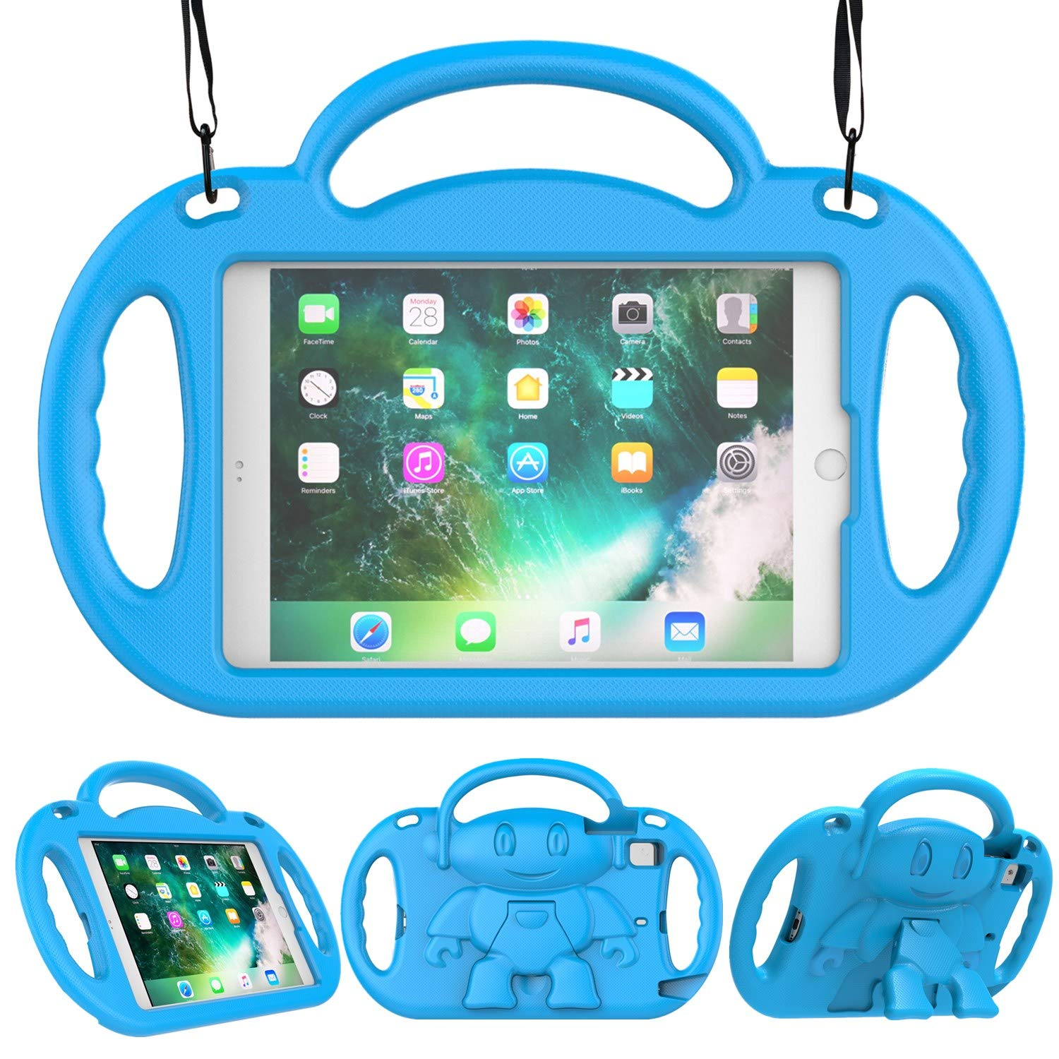 LEDNICEKER Kids Case for iPad Mini 1 2 3 4 - Light Weight Shockproof Handle Friendly Convertible Stand Kids Case with Built-in Kickstand & Shoulder Strap for iPad Mini, Mini 4, Mini 3, Mini 2 - Blue