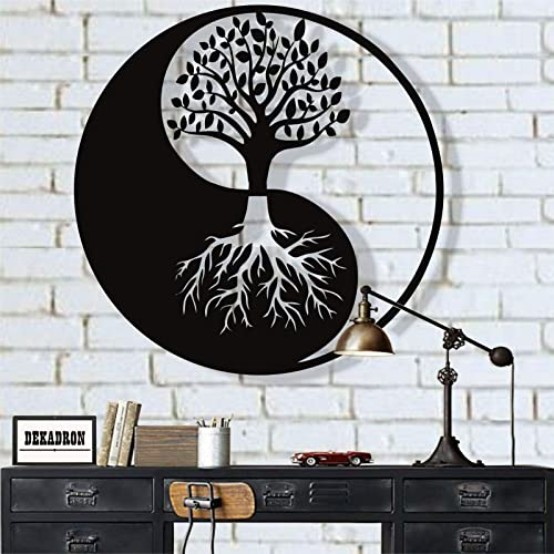 DEKADRON Metal Wall Art, Tree of Life Wall Art, Metal Yin Yang Decor, Metal Wall Decor, Interior Decoration, Wall Hangings 18 W x 18 H 45×45 cm
