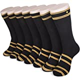 ZOM Unisex Classic Dress Socks with Patent Pending No-Loss Snap,7 Pair for All Week Use-Smooth Knee High