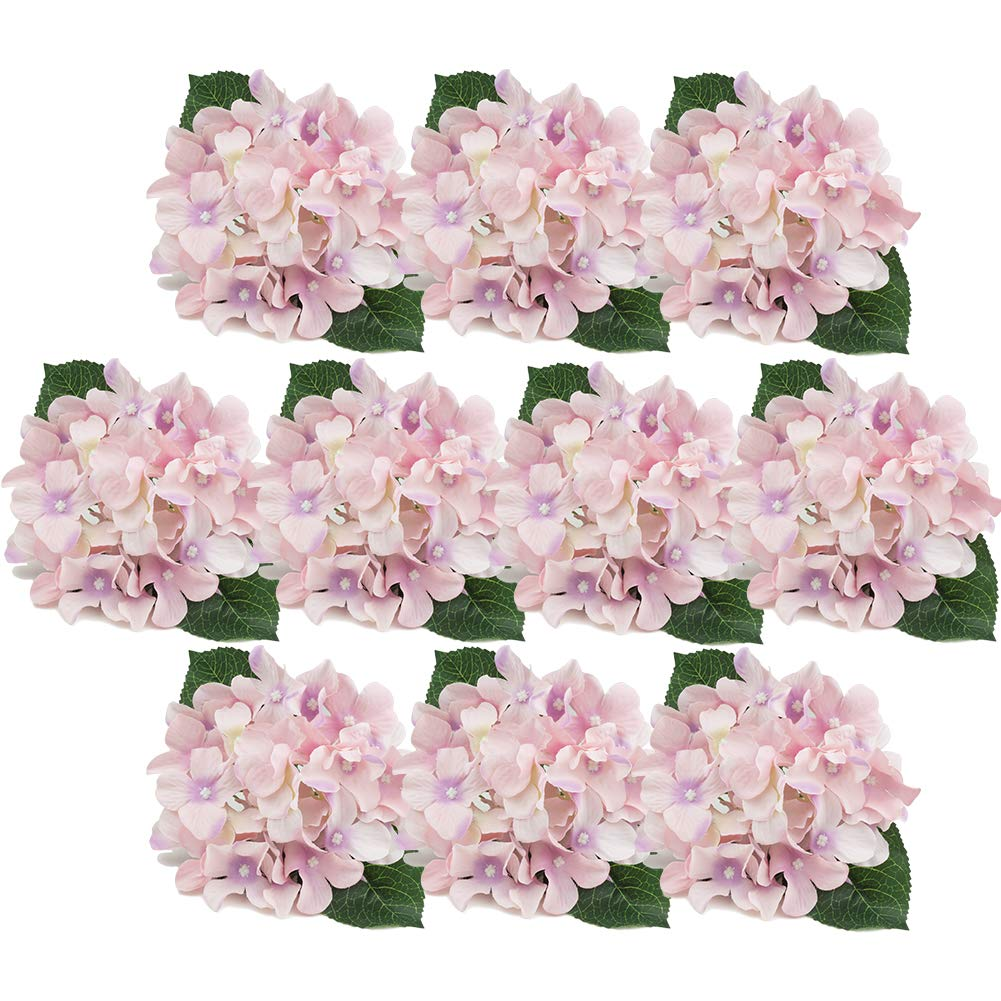 DECONEXT Artificial Silk Flowers California Fake Beautiful Hydrangea Bouquet Flower with Stem for Home Wedding Bouquet Decor, Pack of 10 Pink