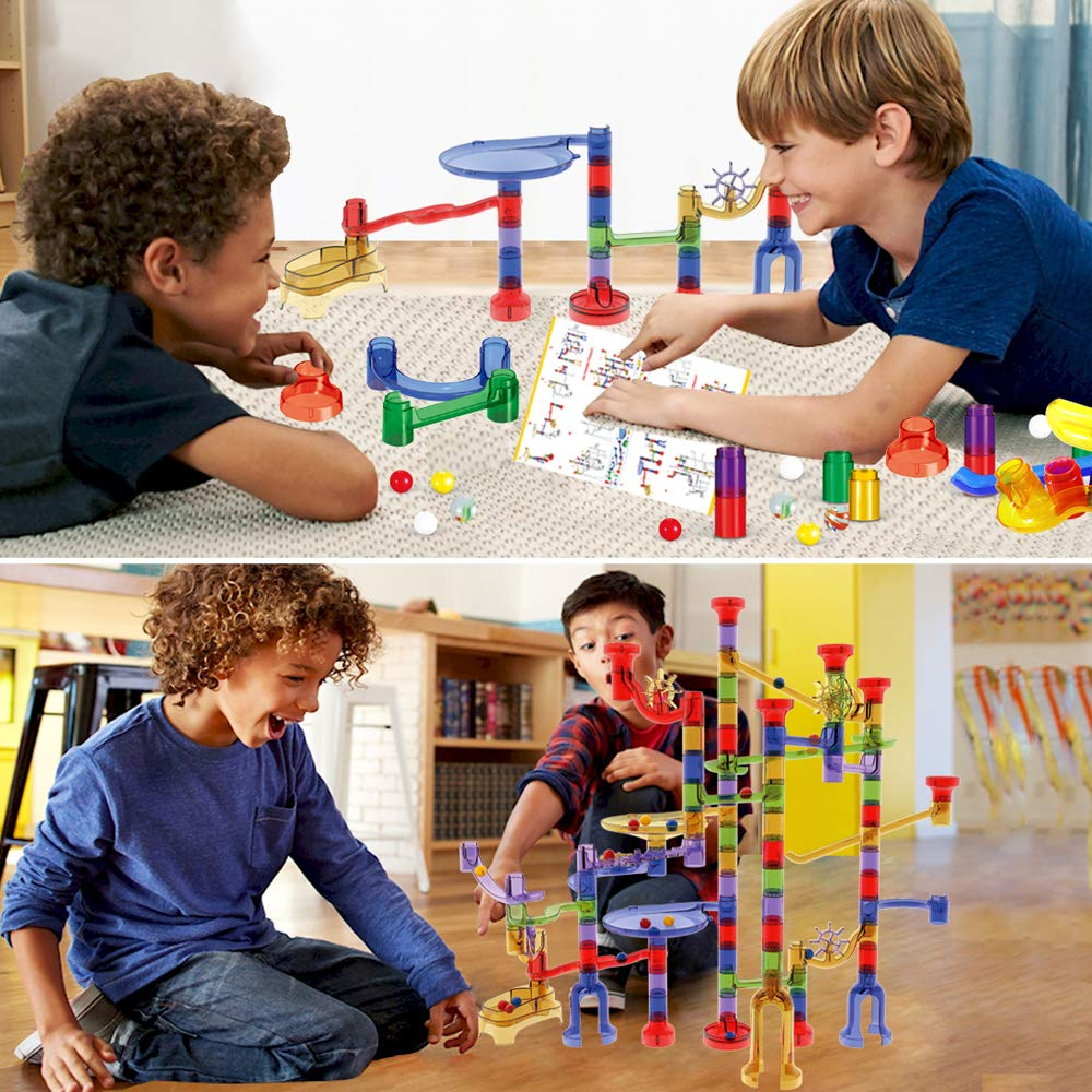 Educational Learning Marble Building Blocks Girl Boy Toy Gift for Kids Children WTOR 190Pcs Marble Run Sets STEM Toys for Kids Boys Girls 168 Translucent Plastic Pieces + 22 Glass Marbles