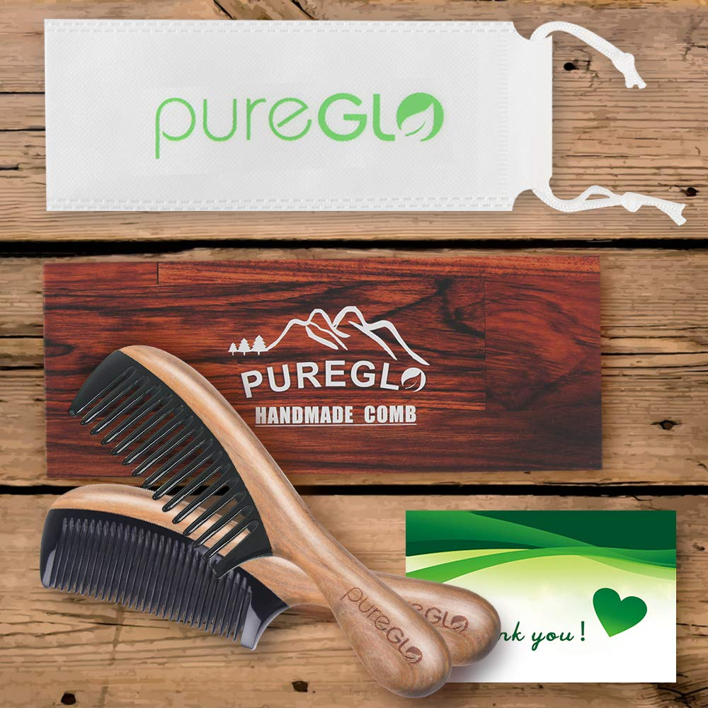 Wooden Hair Combs [Gift Box] – pureGLO Anti-Static Detangling Comb Set for Men Women Kids - Fine and Wide Tooth Combs for Straight Curly Wavy Dry Wet Thick or Fine Hair by pureGLO (Image #6)