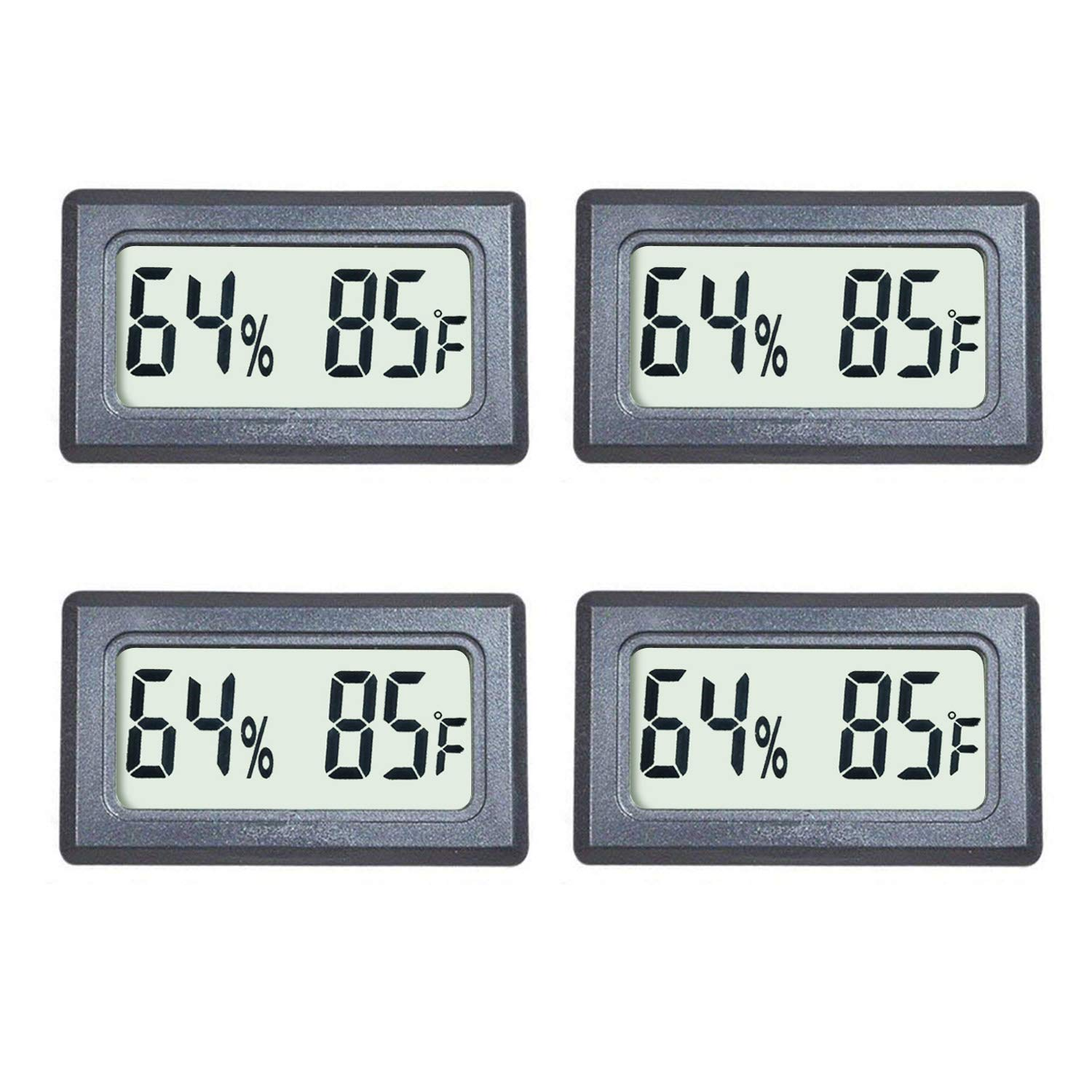 Veanic 4-Pack Mini Digital Thermometer Hygrometer Meters Gauge Indoor Large Number Display Temperature Fahrenheit (℉) Humidity for Home Office Humidors Jars Incubators Guitar Case by Veanic