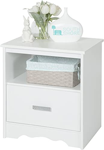 South Shore Tiara 1-Drawer Nightstand, Pure White with Decorated Handle