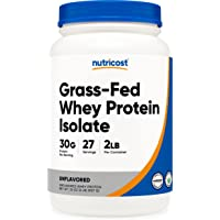 Nutricost Grass-Fed Whey Protein Isolate (Unflavored) 2LBS - Non-GMO, Gluten Free, Pure Protein