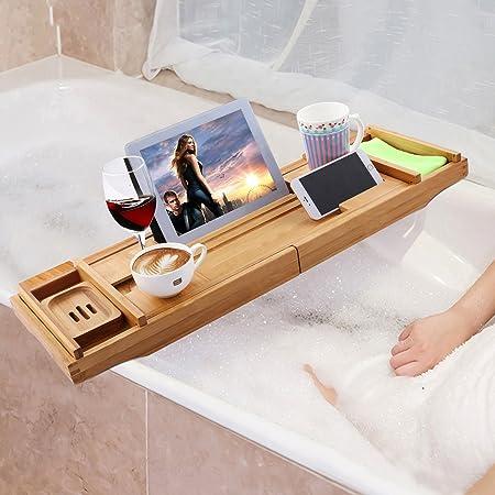 Simlive Luxury Wooden Bathtub Caddy Tray Extendable Bath Tub Tray With  Book/Tablet/iPad