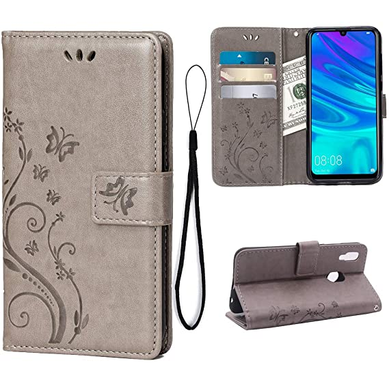 lowest price 68016 f7ec5 Wallet Case for Huawei P Smart 2019, 3 Card Holder Embossed Butterfly  Flower PU Leather Magnetic Flip Cover for Huawei Honor 10 Lite(Grey)