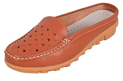 1f9147908d3 True Face Ladies Slip on Leather Loafer Mules Backless Casual Slider ...