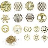 A'sTool フラワーオブライフ 神聖幾何学模様 チャクラ オルゴナイト製作 シール 16枚 金繊維 セット