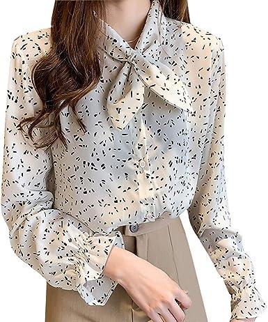 AIFGR Camisa de Mujer Damas Blusa de Manga Larga con ...