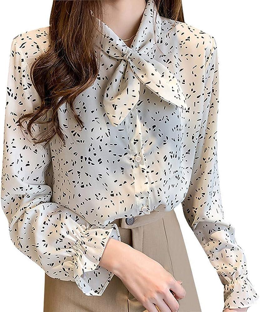 AIFGR Camisa de Mujer Damas Blusa de Manga Larga con Estampado de Gasa de Blusa Informal Top(Blanco, XXL): Amazon.es: Ropa y accesorios