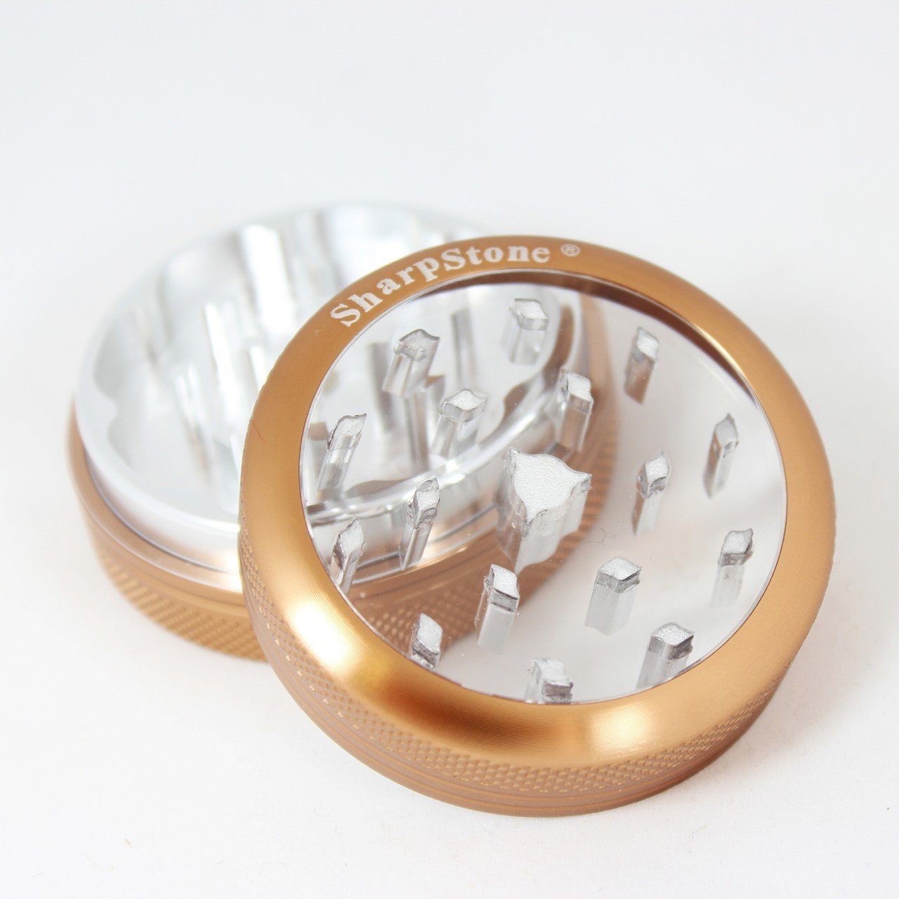 Sharp Stone Official Authentic 2 Piece Grinder Clear Top 2.2 Inches Brown + Free Performance Technology Wrist Band