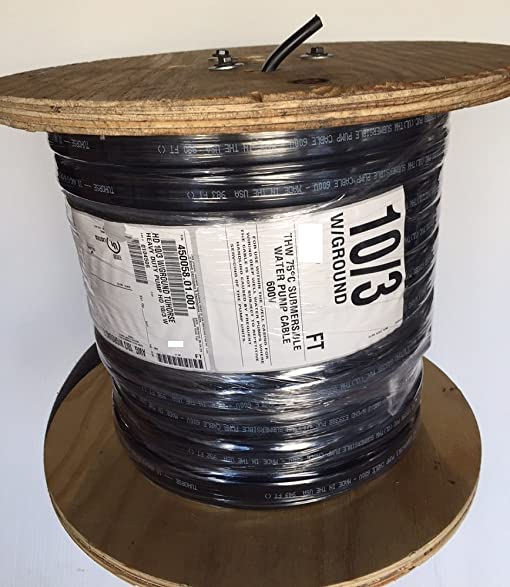500 feet 10/3 w/ ground, flat HD copper submersible pump cable ...
