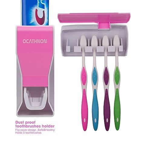 Ocathnon montado en la pared/polvo dispensador de pasta de dientes y pasta de dientes