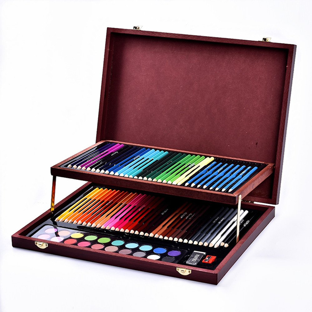 JIANGXIUQIN Artist Art Drawing Set, Exquisite Art 91 Children's Painting Art Supplies, Luxury Wooden Box Portable Device Gifts for Children and Children.