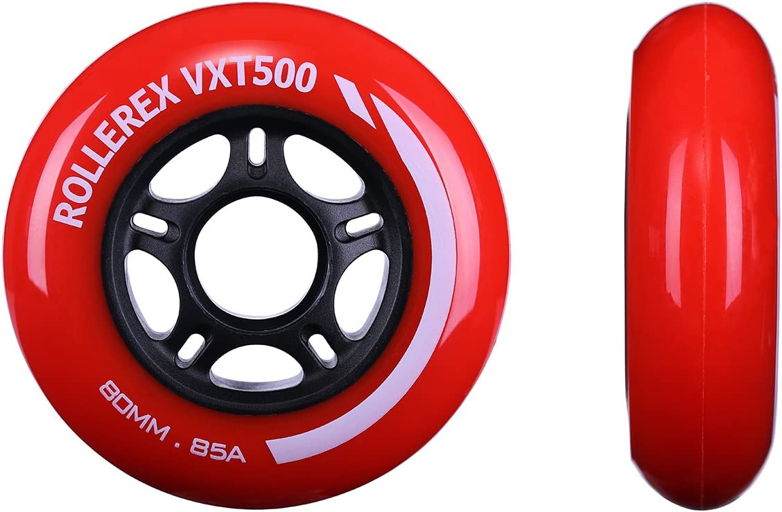 2-Pack w//Bearings, spacers and washers Rollerex VXT500 Inline Skate Wheels