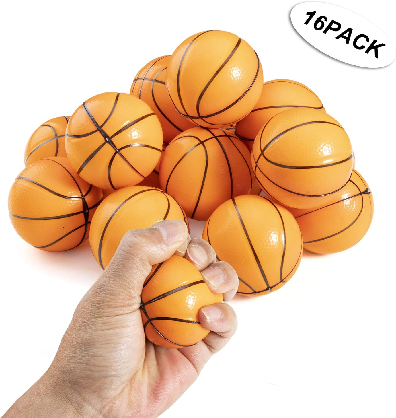 2.5 Inch Mini Foam Basketballs Fun Stress Reliever Toy for Kids Prizes and Party Favors Basketball Stress Balls Pack of 12 SN Incorp