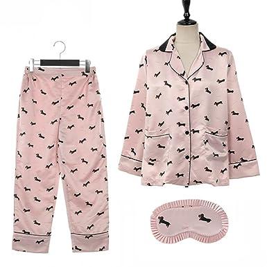 39d37a665227 OSIEDJO9J Pajama Sets Women Dachshund Print Long Sleeve Top + Pants Elastic  Waist + Blinder Loose Homewear at Amazon Women s Clothing store
