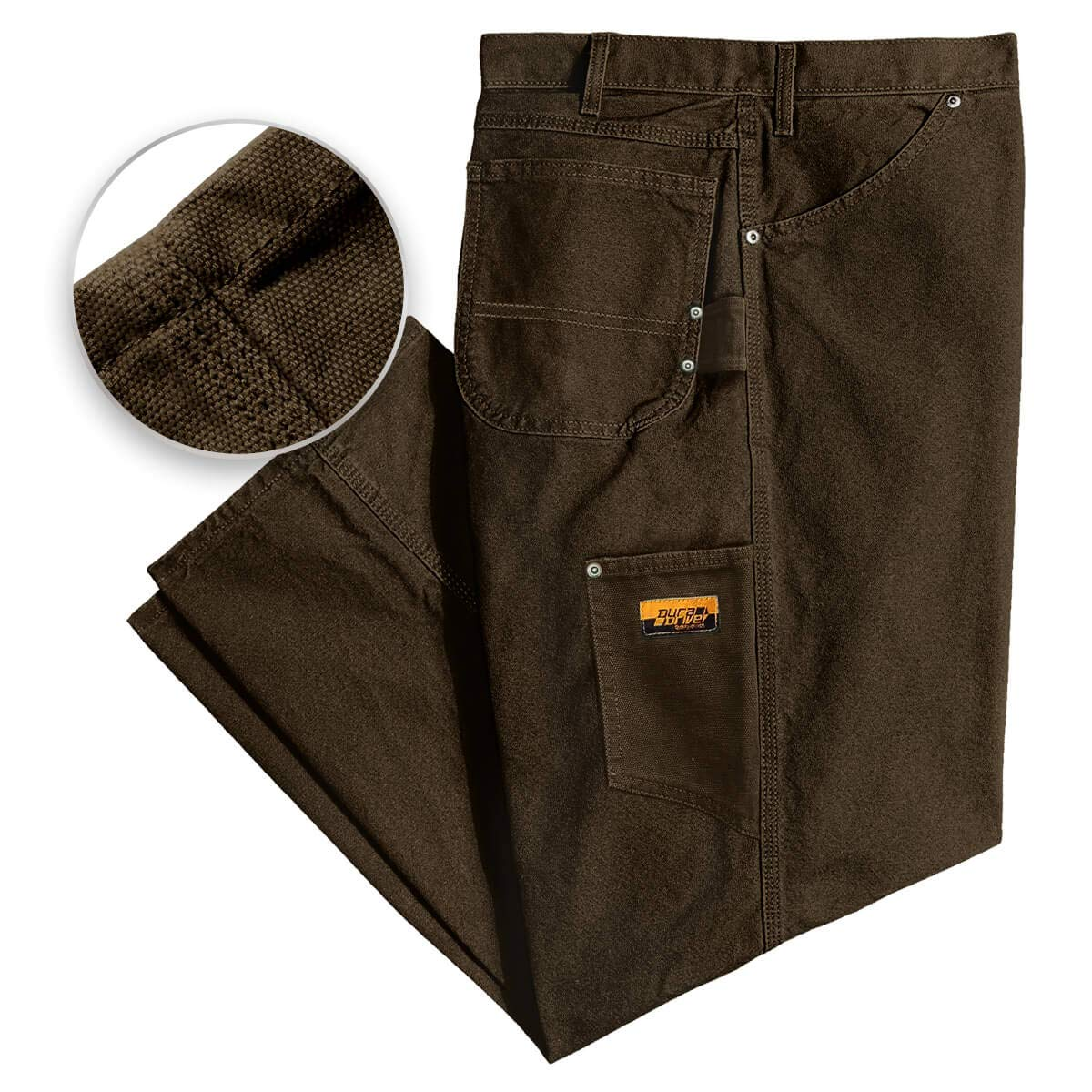 DuraDrive 34W x 34L Black Mens Loose Fit Garment Washed Duck Canvas Work Dungaree Carpenter Pants