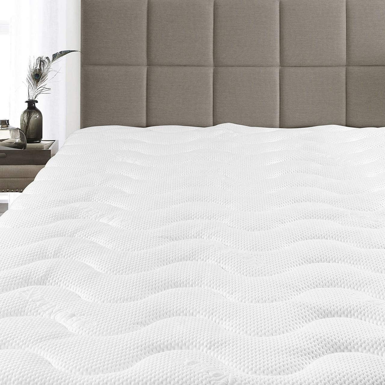 Extra Plush Hypoallergenic Cool TENCEL JACQUARD FITTED MATTRESS PAD Queen size Soft Premium Waterproof Mattress Topper