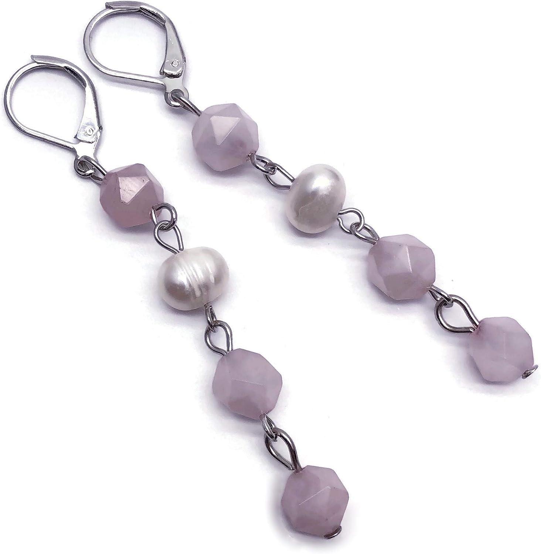 Pendientes de perlas de agua dulce y cuarzo rosa, 70 mm de largo, sin níquel