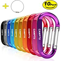 """CAMPTU Improved 10 Pcs 3"""" 8cm Aluminum Large carabiners Keychain D Shape Durable D-Ring keyring Carabiner Clip Hook camping accessories for Outdoor Home RV Camping Fishing Hiking Traveling Backpack"""